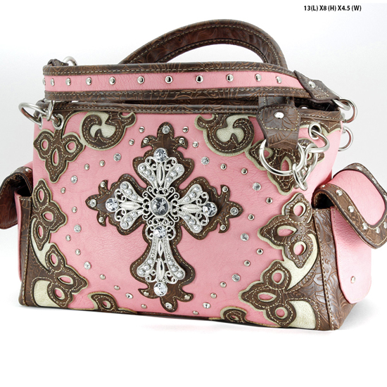 G939-W28-LCR-PEACH - WESTERN RHINESTONE CROSS HANDBAGS CONCEALED CARRY PURSES