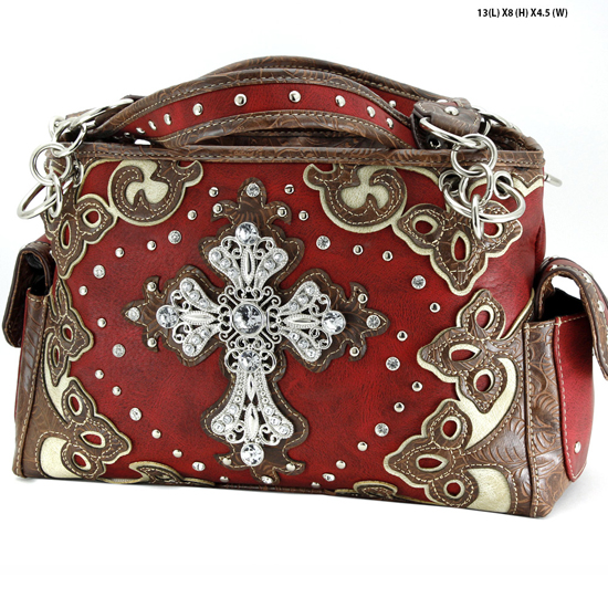 G939-W28-LCR-RED - WESTERN RHINESTONE CROSS HANDBAGS CONCEALED CARRY PURSES