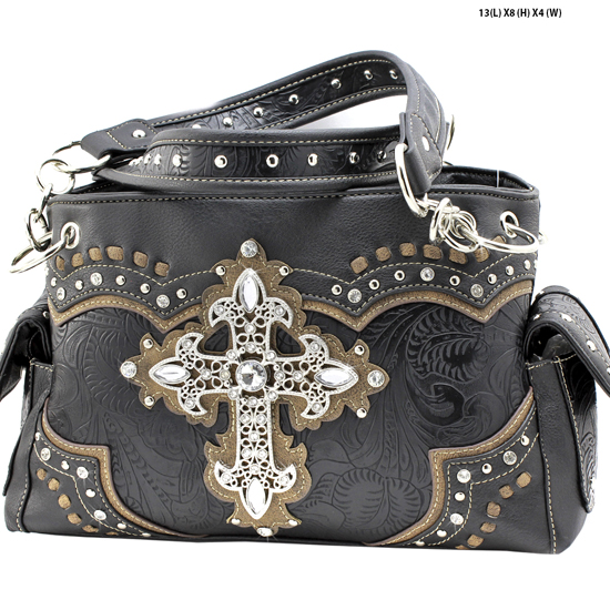 939-W34-LCR-BLACK - RHINESTONE CROSS HANDBAGS CONCEALED WEAPON PURSES