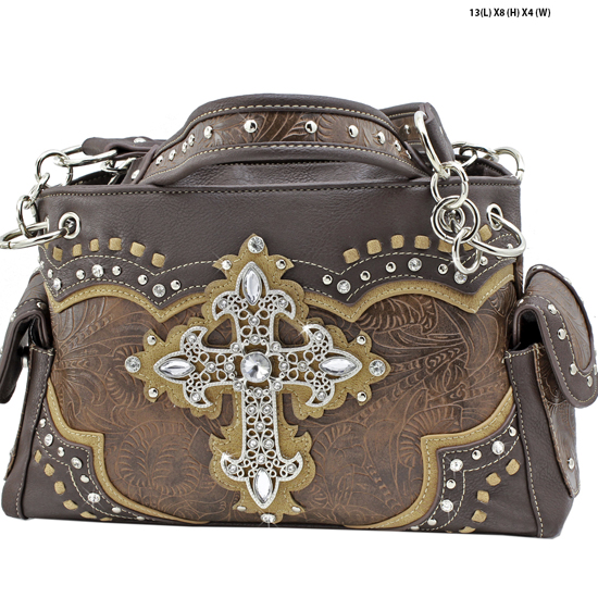 939-W34-LCR-BROWN - RHINESTONE CROSS HANDBAGS CONCEALED WEAPON PURSES