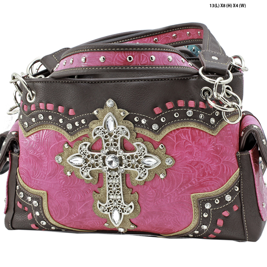 939-W34-LCR-HTPK - RHINESTONE CROSS HANDBAGS CONCEALED WEAPON PURSES