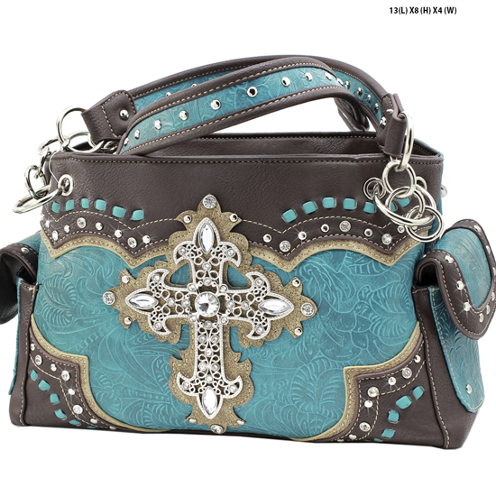 939-W34-LCR-TURQ - RHINESTONE CROSS HANDBAGS CONCEALED WEAPON PURSES