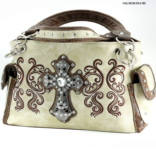 G939-W62-LCR-BEIGE - WESTERN RHINESTONE CROSS HANDBAGS CONCEALED CARRY PURSES