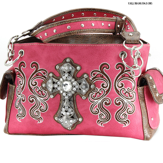 G939-W62-LCR-HTPK - WESTERN RHINESTONE CROSS HANDBAGS CONCEALED CARRY PURSES