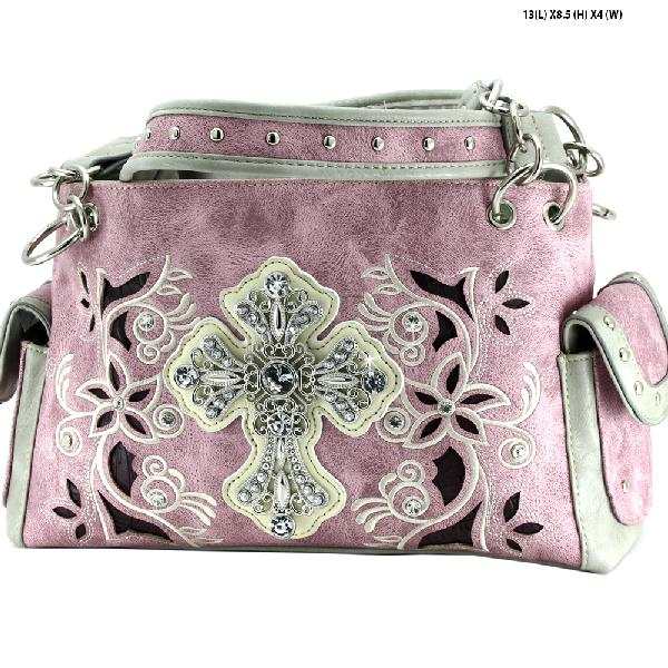 WESTERN CROSS PURSES - WESTERN RHINESTONE CROSS HANDBAGS CONCEALED CARRY PURSES