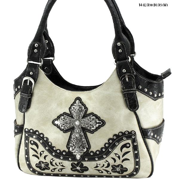 CROSS CONCEALED WEAPON PURSES - WESTERN RHINESTONE CROSS HANDBAGS CONCEALED CARRY PURSES