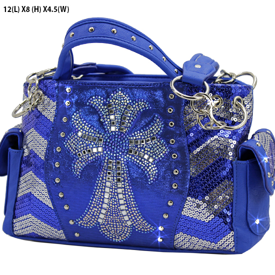 GSQ921-LCR-BSV-BLUE - WHOLESALE RHINESTONE HANDBAGS