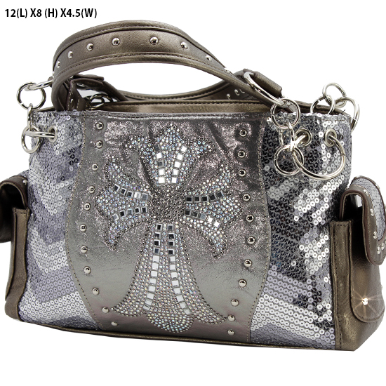 GSQ921-LCR-BSV-PEWTER - WHOLESALE RHINESTONE HANDBAGS