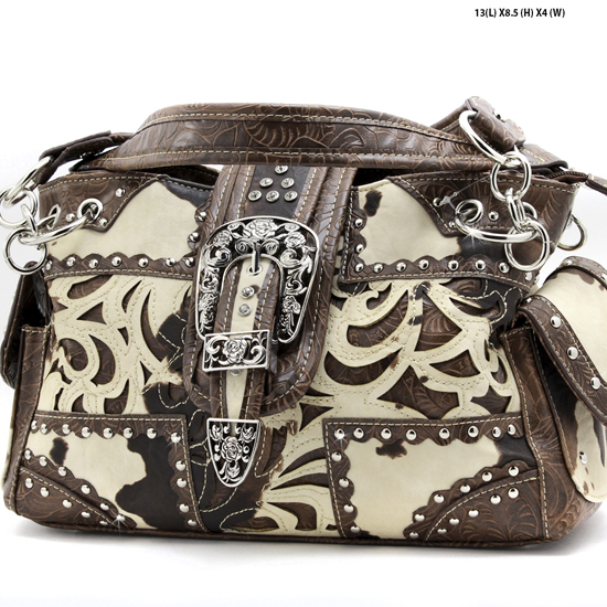 BHW-COW-W77-135-BROWN - RHINESTONE COW PRINT BUCKLE PURSES CONCEALED WEAPON PURSES