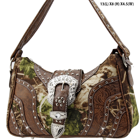 MLF-588-W9-BROWN - WESTERN RHINESTONE BUCKLE HANDBAGS