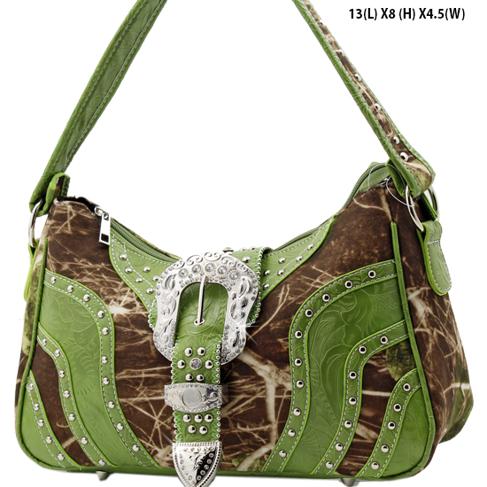 MLF-588-W9-GREEN - WESTERN RHINESTONE BUCKLE HANDBAGS