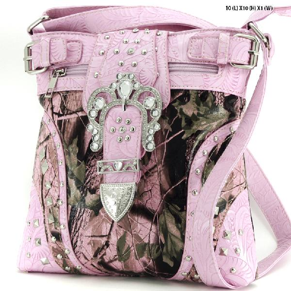 CAMO BUCKLE HIPSTER BAGS - WESTERN CAMO CONCEALED WEAPON MESSENGER HANDBAGS