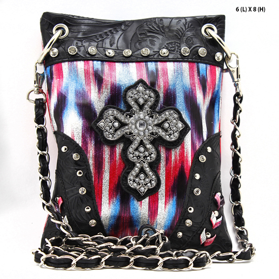 CROSS-CP67-G064-HTPK/BLK - WHOLESALE RHINESTONE CRYSTAL CELLPHONE CASES/POUCHES