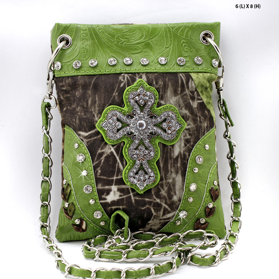 CROSS-76-MLF-GREEN - WHOLESALE RHINESTONE CRYSTAL CELLPHONE CASES/POUCHES