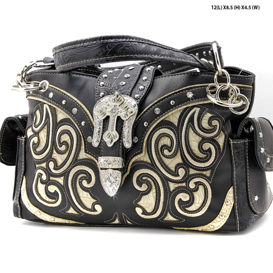 939-W13-BLK-BEIGE - WHOLESALE WESTERN RHINESTONE CROSS HANDBAGS