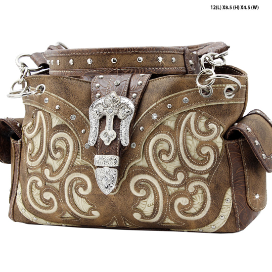 939-W13-LT-BROWN-BEIGE - WHOLESALE WESTERN RHINESTONE CROSS HANDBAGS