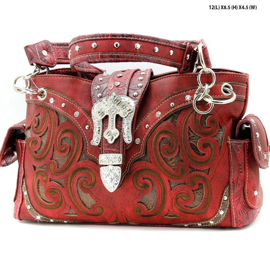 939-W13-RED - WHOLESALE WESTERN RHINESTONE CROSS HANDBAGS