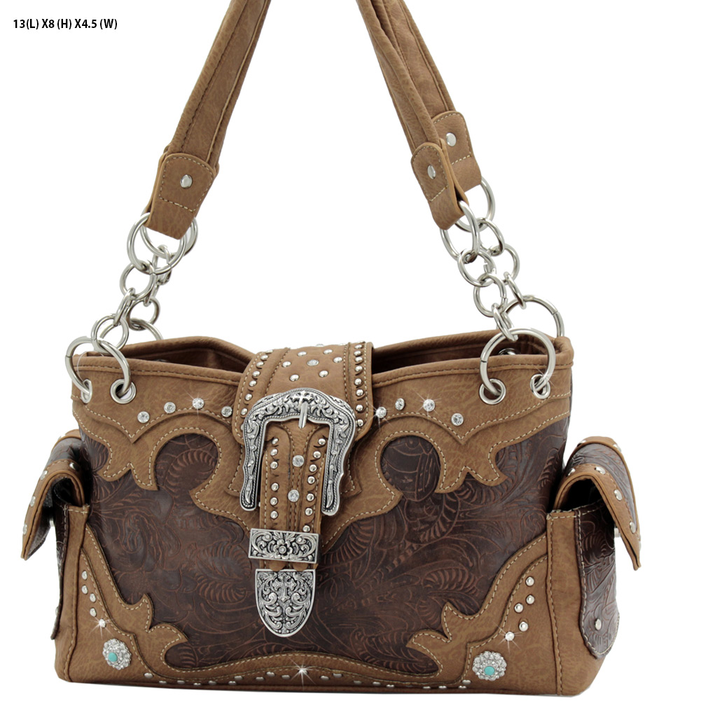 BKL-939-W80-BROWN - BKL-939-W80-BROWN WESTERN RHINESTONE BUCKLE HANDBAGS CONCEALED CARRY PURSES