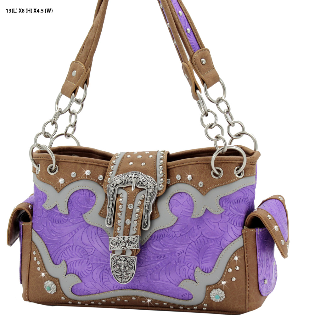 BKL-939-W80-PURPLE - BKL-939-W80-PURPLE WESTERN RHINESTONE BUCKLE HANDBAGS CONCEALED CARRY PURSES