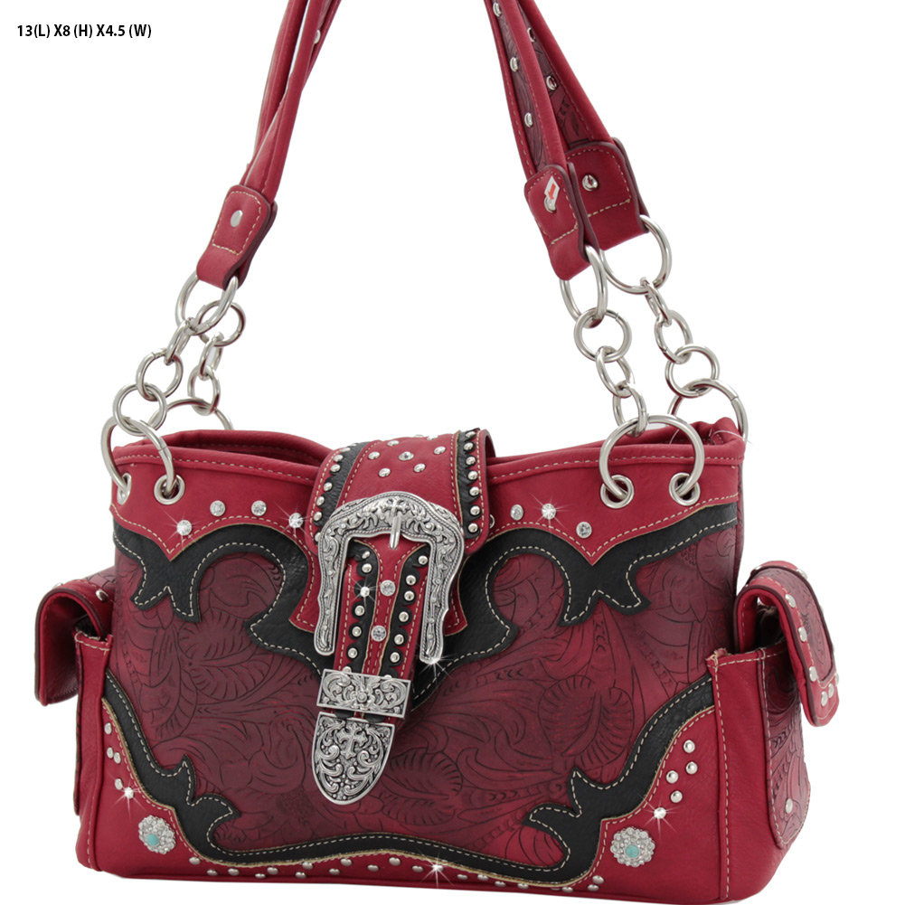 BKL-939-W80-RED - BKL-939-W80-RED WESTERN RHINESTONE BUCKLE HANDBAGS CONCEALED CARRY PURSES