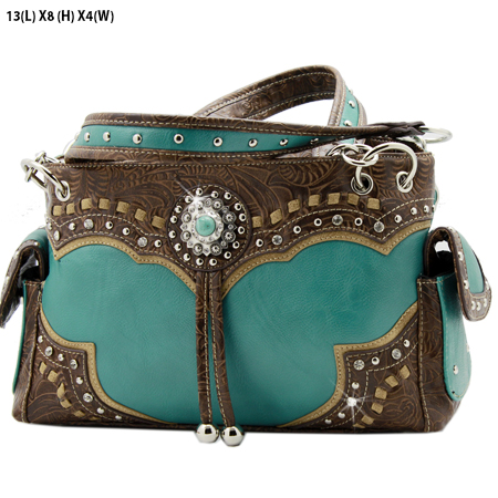 GPTQ-133-TQ-BROWN - RHINESTONE CONCHO HANDBAGS