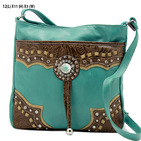 GPTQ-43-TQ-BROWN - RHINESTONE CONCHO HANDBAGS