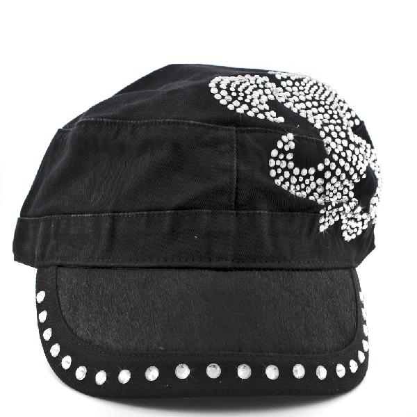 HDCD-112--BLACK - WHOLESALE RHINESTONE CAPS/HAIR ON HIDE CAPS