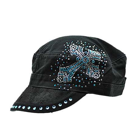 HDCD-81-BLACK/TQ - WHOLESALE RHINESTONE HAIR ON HIDE CAPS
