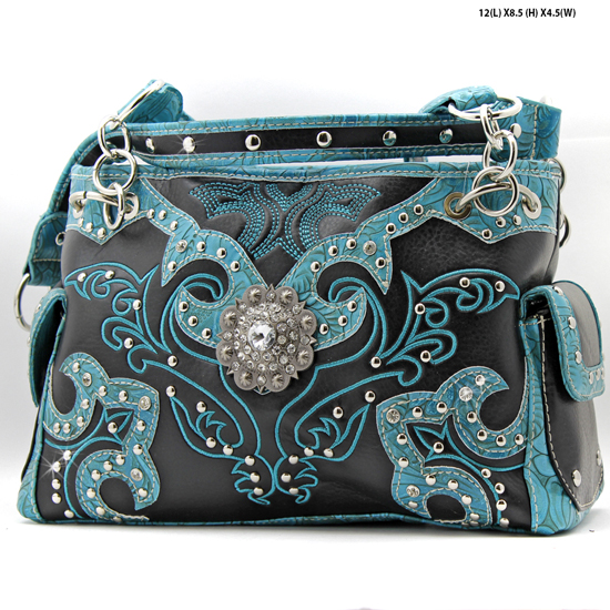 HE-893-BLACK - WHOLESALE WESTERN TOOLED CONCHO PURSES