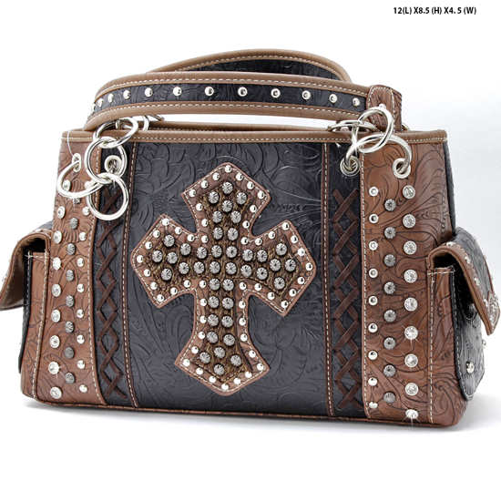 HHC-893-BLACK - WHOLESALE WESTERN HAIR ON HIDE CROSS PURSES