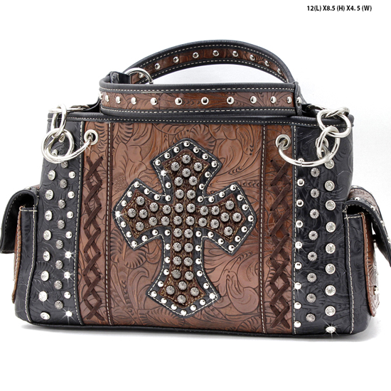 HHC-893-BROWN - WHOLESALE WESTERN HAIR ON HIDE CROSS PURSES