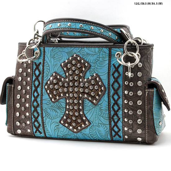 HHC-893-TURQ - WHOLESALE WESTERN HAIR ON HIDE CROSS PURSES