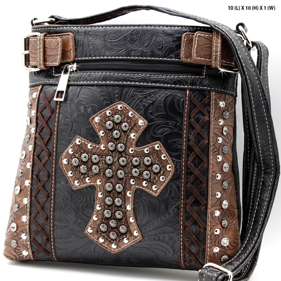 HHC-938-BLACK - WESTERN RHINESTONE STUDDED MESSENGER HANDBAGS