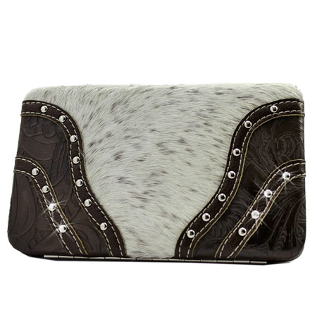 HIDE-BKLE-2-BONE - WHOLESALE FLAT WALLETS/OPERA STYLE METAL FRAME