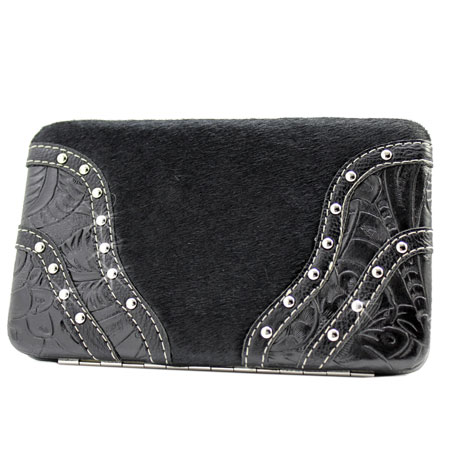 HIDE-BKLE-2-BLACK - WHOLESALE FLAT WALLETS/OPERA STYLE METAL FRAME