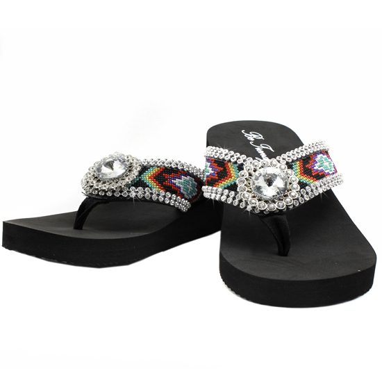 FF-AZTEC-J-A-SMALL - WHOLESALE RHINESTONE BLING BLING AZTEC PRINT FLIP FLOPS