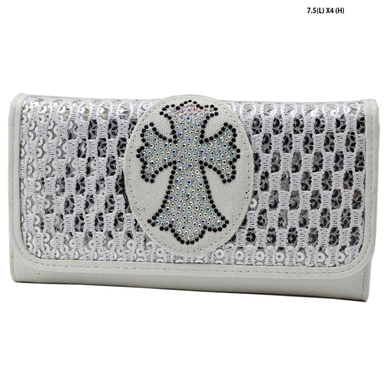 HSC-007--WHITE - WHOLESALE WESTERN CRYSTAL WALLETS