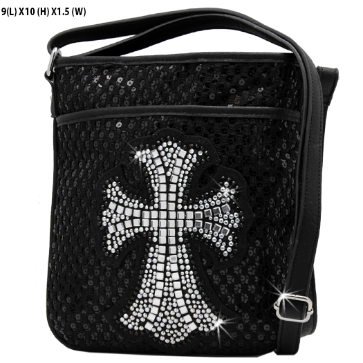HSC--008-BLK-BLK - WHOLESALE GLASS CRYSTAL STUDDED CROSS BODY HANDBAGS