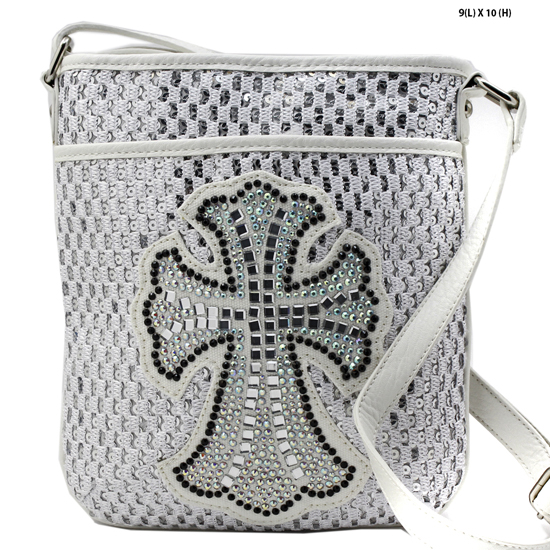 HSC--008-WHITE - WHOLESALE GLASS CRYSTAL STUDDED CROSS BODY HANDBAGS