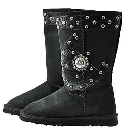 HSSTAR-BOOTS--BLACK - WHOLESALE RHINESTONE WINTER BOOTS