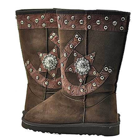 HSSTAR-BOOTS--COFFEE - WHOLESALE RHINESTONE WINTER BOOTS