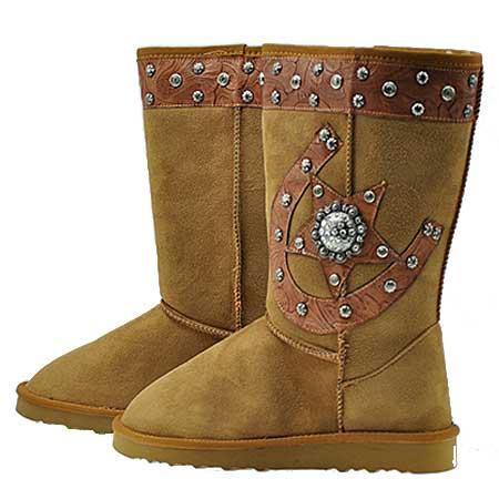 HSSTAR-BOOTS--TAN - WHOLESALE RHINESTONE WINTER BOOTS