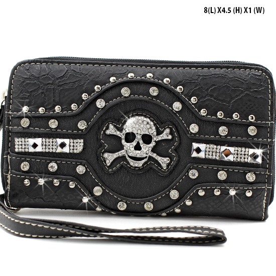 JR-245-BLACK - WHOLESALE WOMENS WRISTLETS-WALLETS