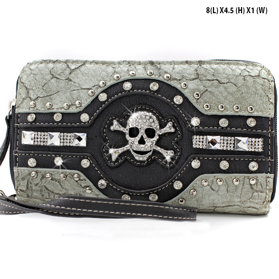 JR-245-PEWTER - WHOLESALE WOMENS WRISTLETS-WALLETS