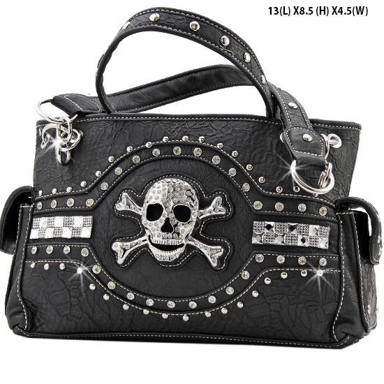 JR-893-BLACK - WHOLESALE RHINESTONE SKULL HANDBAGS