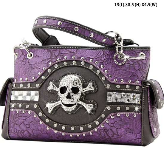 JR-893-PURPLE - WHOLESALE RHINESTONE SKULL HANDBAGS
