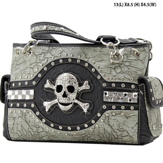 JR-893-PEWTER - WHOLESALE RHINESTONE SKULL HANDBAGS