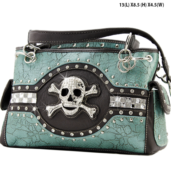 JR-893-TURQ - WHOLESALE RHINESTONE SKULL HANDBAGS
