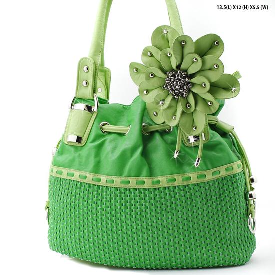 LIN2-4891--GREEN - DESIGNER INSPIRED HANDBAGS