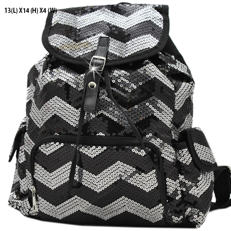 LUSQ45-BLK-SIL - WHOLESALE BACKPACKS-SEQUIN CHEVRON PRINT